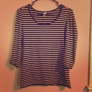 Black and White Striped Fitted Blouse